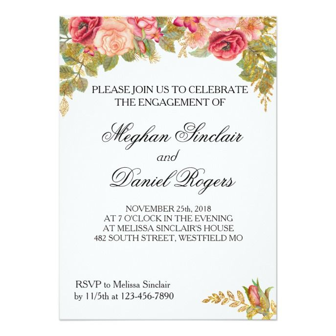Watercolor Roses Glitter Engagement Party Invite Themed weddings