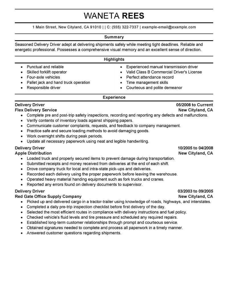 Resume Examples Delivery Driver Delivery Driver Examples Resume