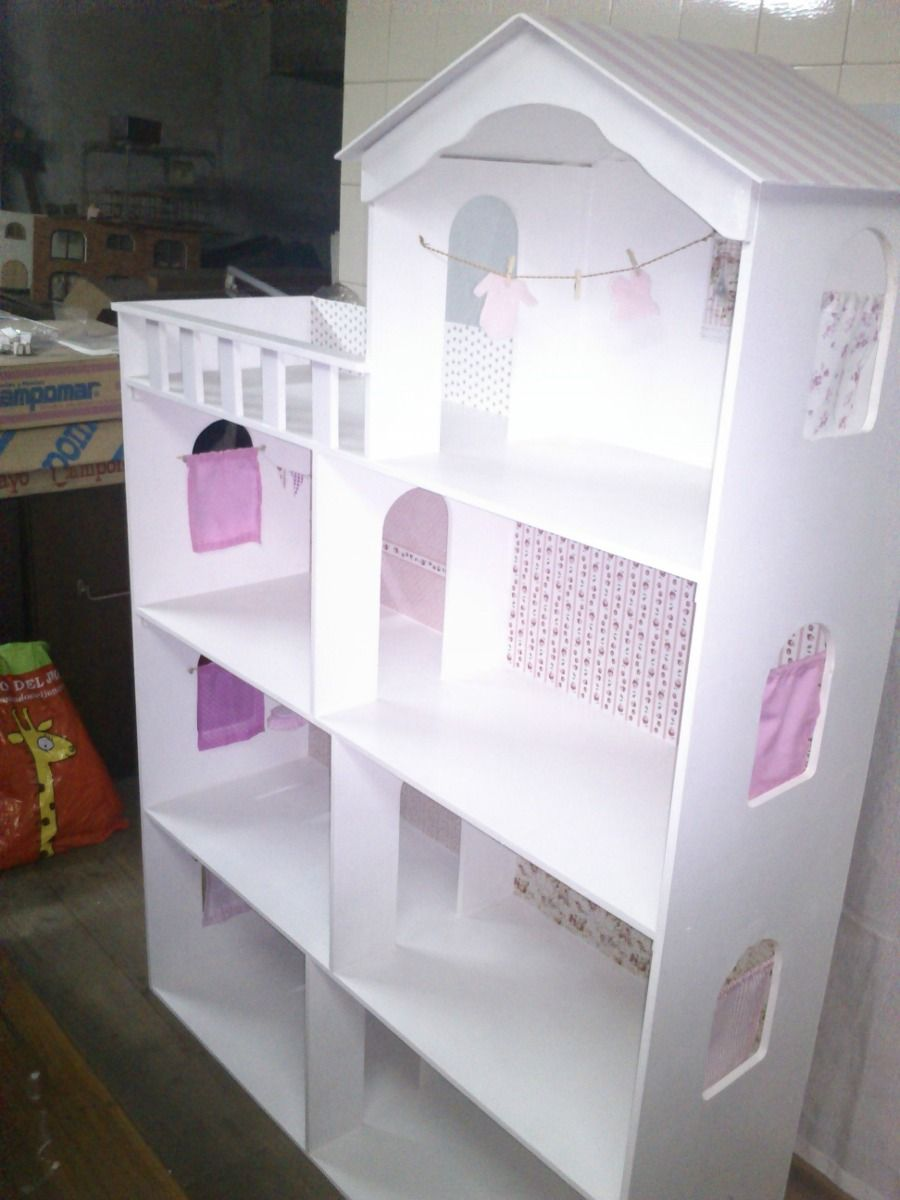 Casita De Mu Ecas Barbie Xxl 4 Pisos Totalmente Decorada  # Muebles Fibrofacil Para Casa Munecas