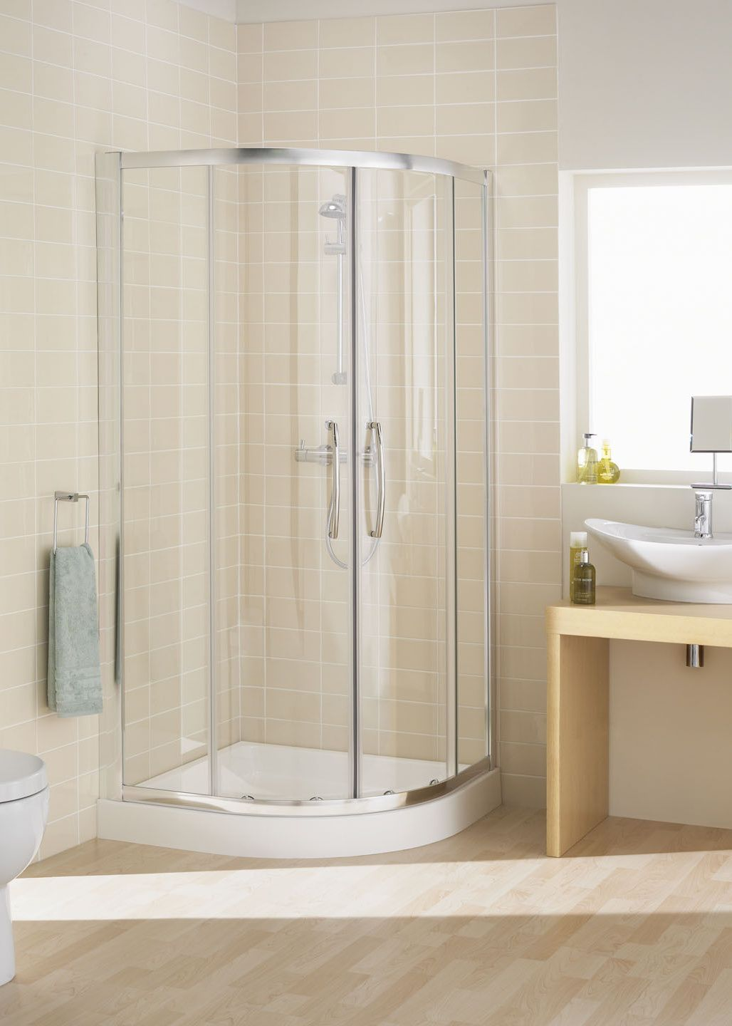 Double Door Offset Quadrant Semi Frameless Shower Enclosures Quadrant Shower Enclosures Quadrant Shower Corner Shower Enclosures