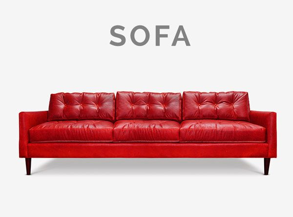 Jack Low Profile Midcentury Knoll Style Red Leather Sofa Furniture