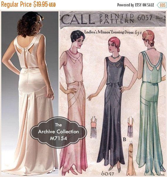 1930s Evening Gown Pattern McCall\'s M7154 McCall 6057 Wedding Dress ...