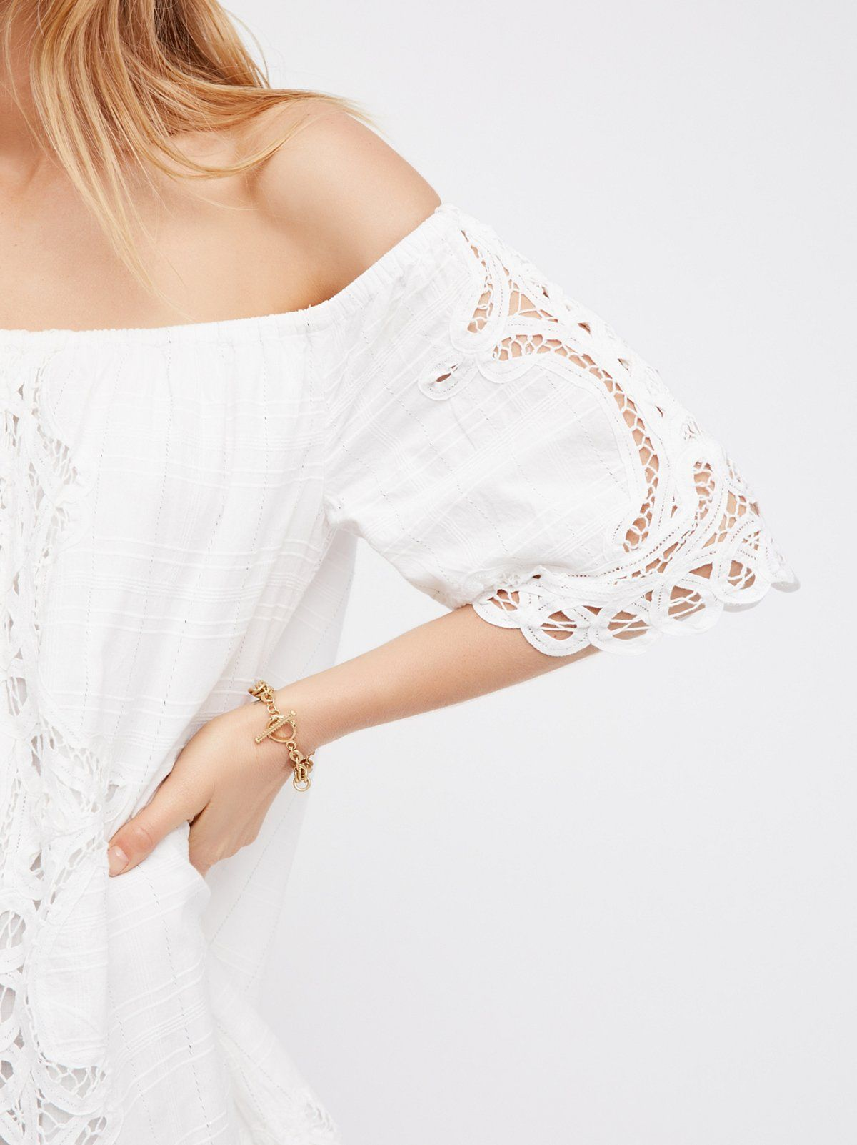 71abc200bcd956 FP Battenburg Off-The-Shoulder Crochet Lace Mini Dress (White)