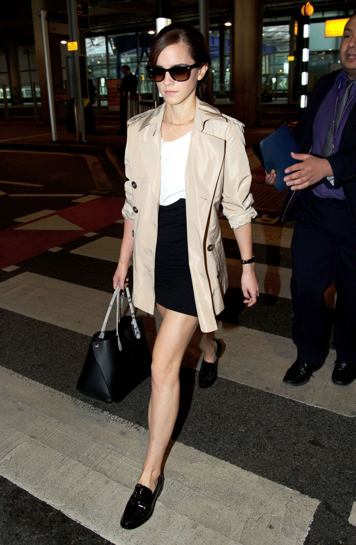 Emma Watson Sandro Roche Combo Dress Winser London Short Trench Coat Meandher Valentina Loafers And Ch Fashion Emma Watson Style Celebrity Fashion Trends [ 1839 x 1200 Pixel ]