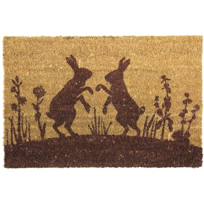 Boxing Hares Coir Door Mat