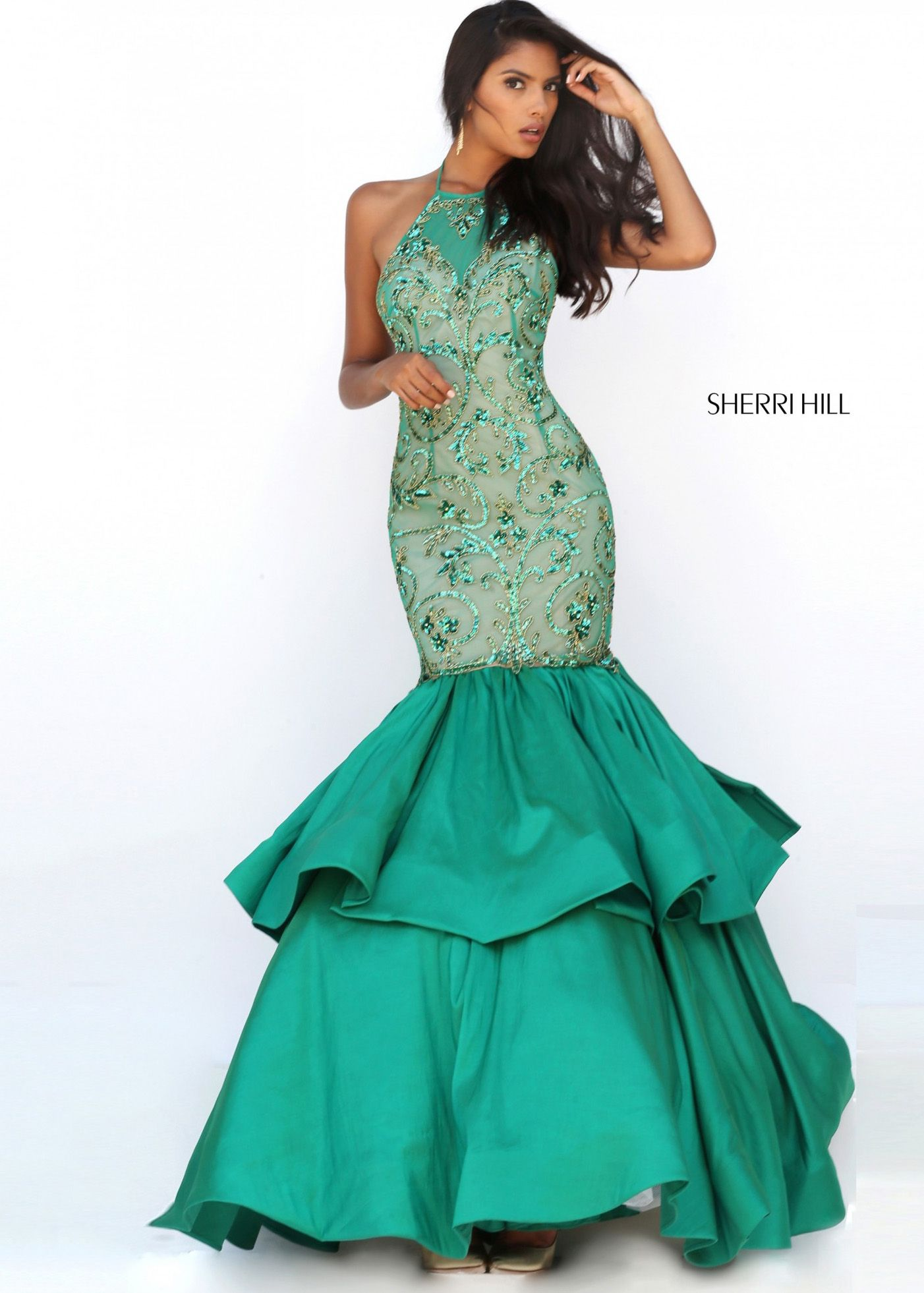 Sherri Hill 50266 Tiered Taffeta Mermaid Gown For Sale   PROM ...