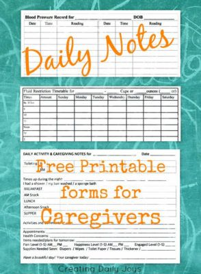 photo regarding Free Printable Caregiver Forms named Day by day Notes for Caregivers with Cost-free Printable Types for