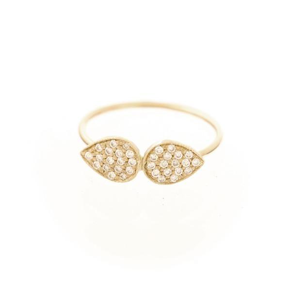Pavé Twin Teardrop Ring