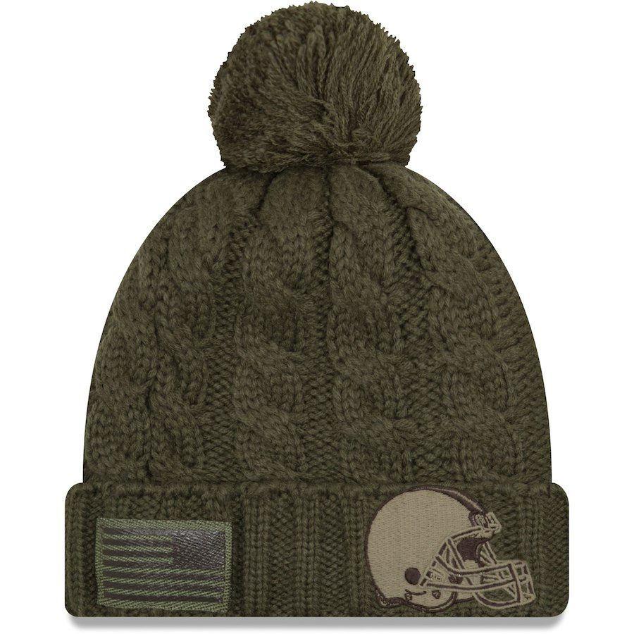 53404640269 Women s Cleveland Browns New Era Olive Salute to Service Cuffed Knit Hat  with Pom