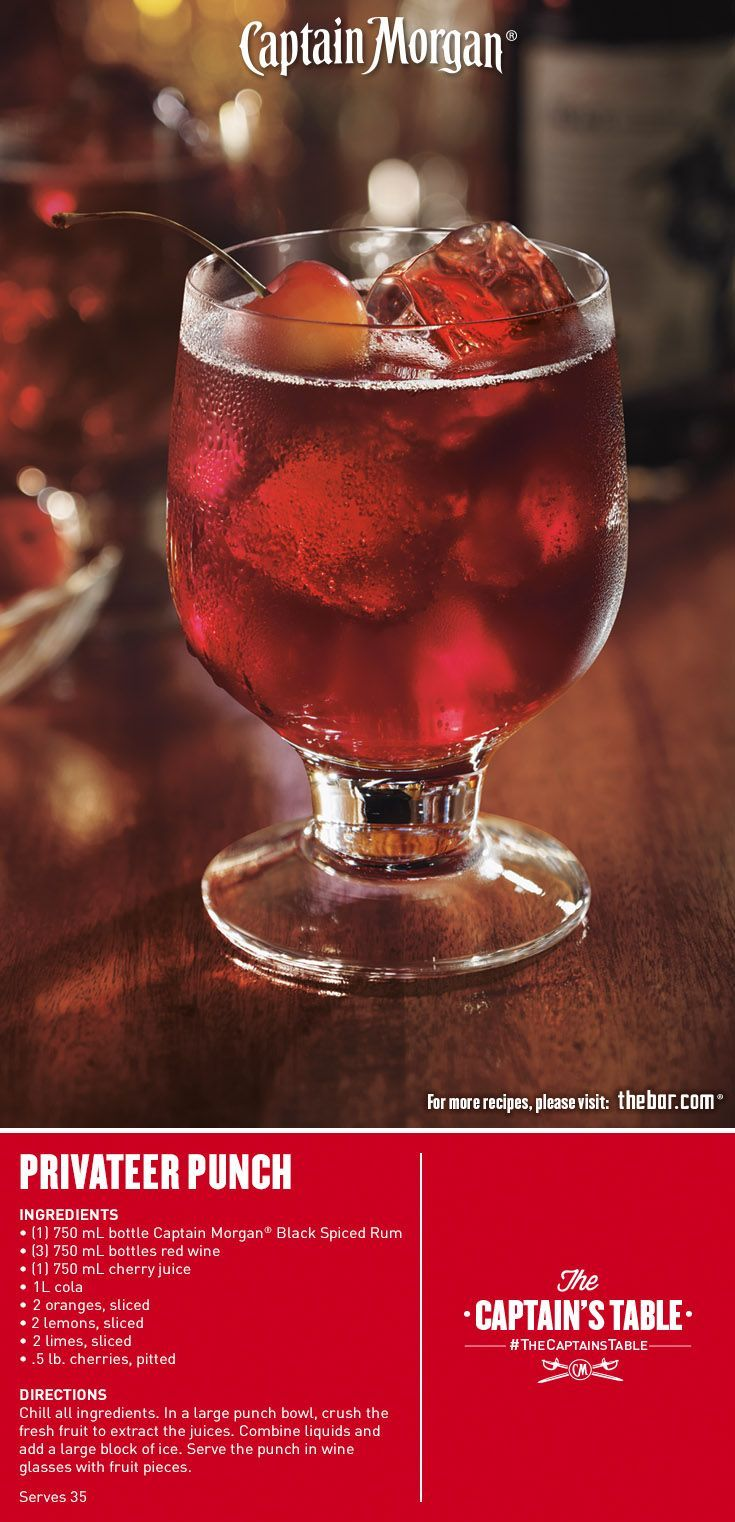 Discover New Fathoms Of Flavor In This Easy Halloween Cocktail Recipe Blending Spiced Rum Red Wine Sweet Ch Spiced Rum Spiked Punch Recipes Spiced Rum Drinks