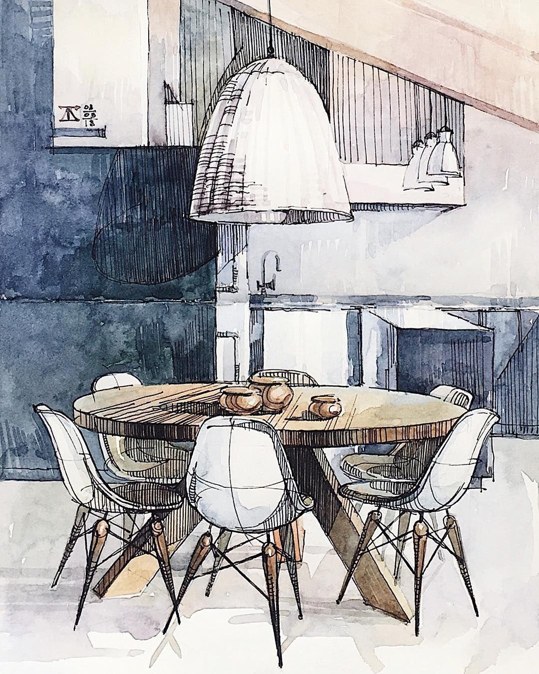 Moleskine's Close-up _  t_druzhinina 2018 . . .  illustration  interiordesign  interior  oldfashioned  design  watercolor  architecture…