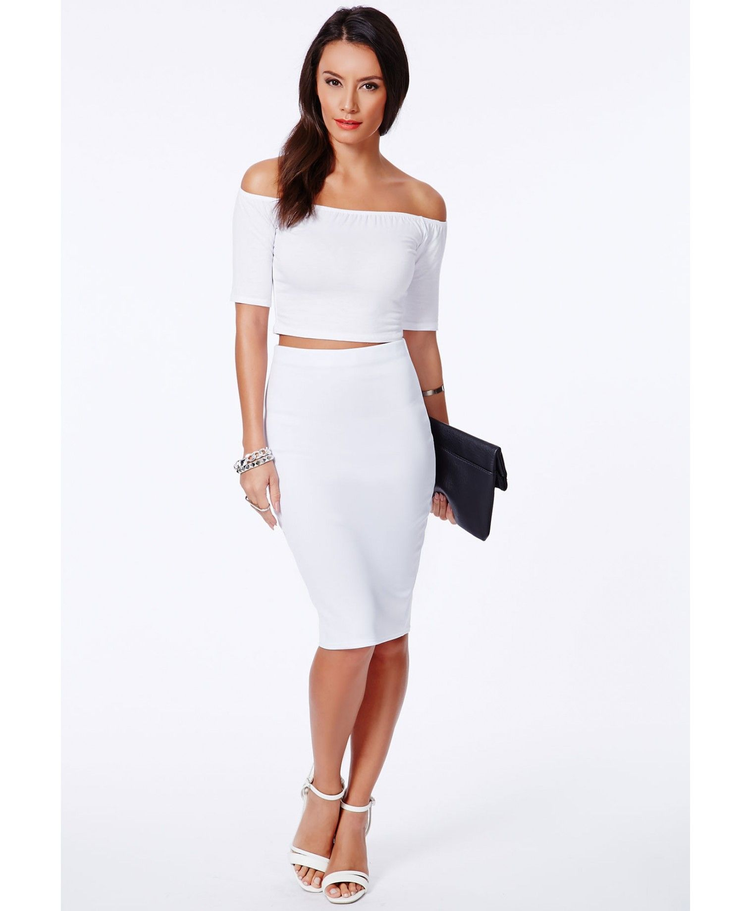 White Pencil Midi Skirt | Outfitsbible | White Skirt | Pinterest ...