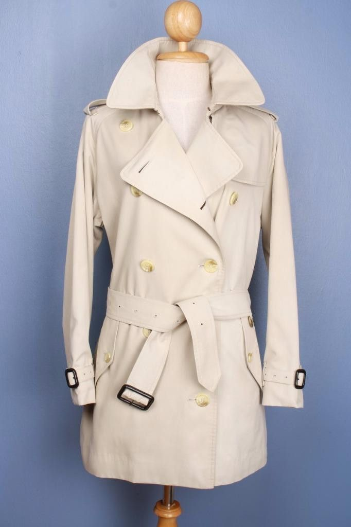 Womens BURBERRY Bespoke Short TRENCH Coat Mac Beige 14/16 Large