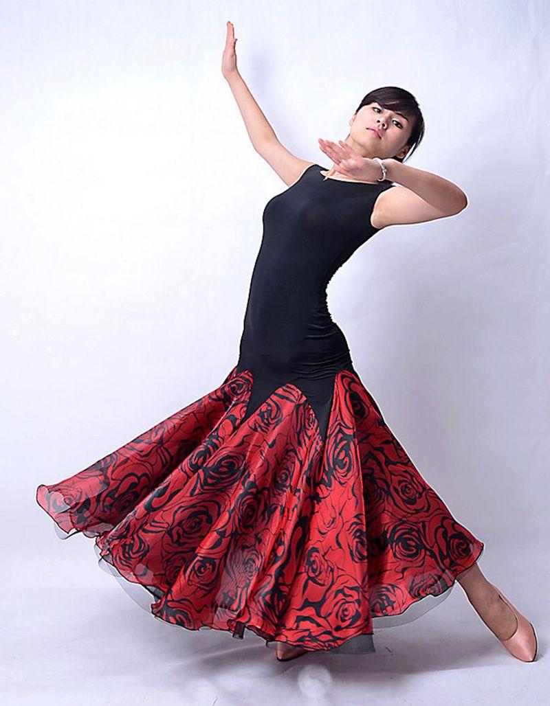 c99d0a947335 Waitz Dance Dresses for Women Simple Style Sleeveless Practice Ballroom  Dancing Wear Lady's Standard Flamenco Skirt(China (Mainland))