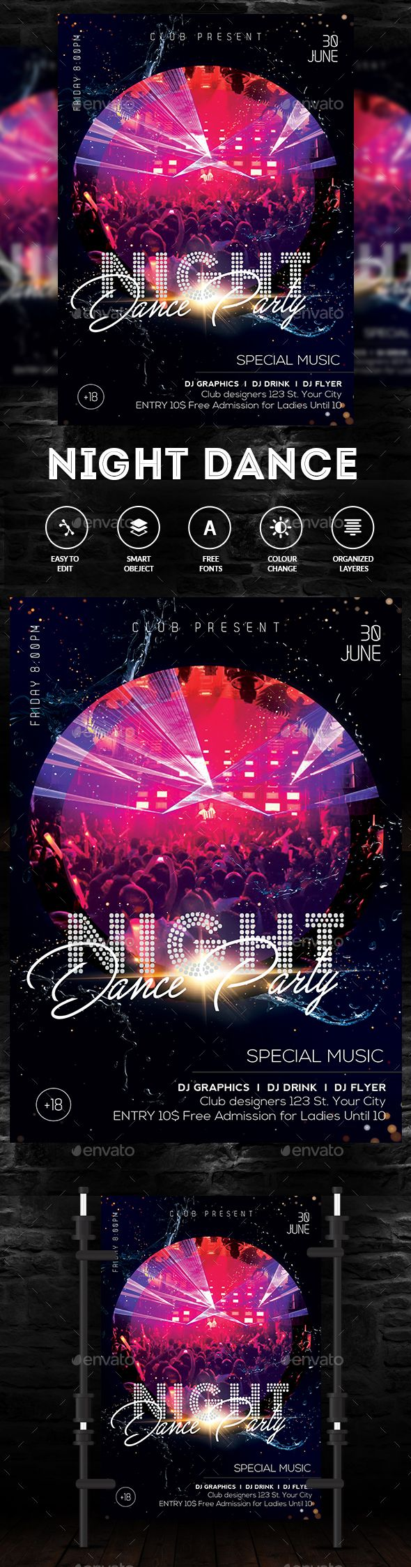 party nights dance flyer pinterest flyer template dancing and