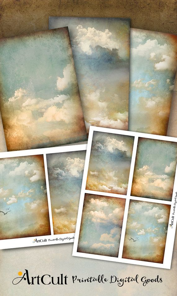 Printable Antique Style Paper Backgrounds Cloudy Sky Digital