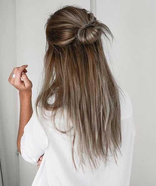 Trendy Half Bun Frisuren Fur Damen Modekleid Com Einfache Alltagsfrisuren Frisuren Lange Haare Alltag Coole Frisuren