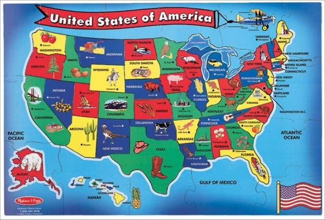 USA Map Floor Puzzle | Main photo (Cover) | Map puzzle ...