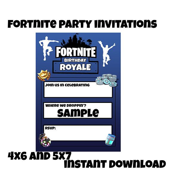 Fortnite Birthday Invitations Instant Download