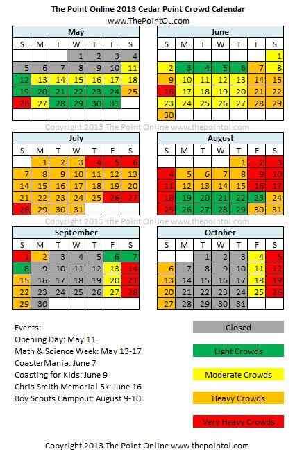 Cedar Point Crowd Calendar | The Point Online | Cedar Points