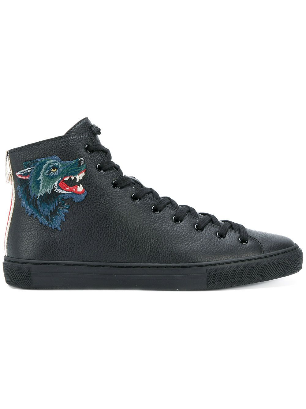 Major Appliquéd Full-grain Leather High-top Sneakers Gucci