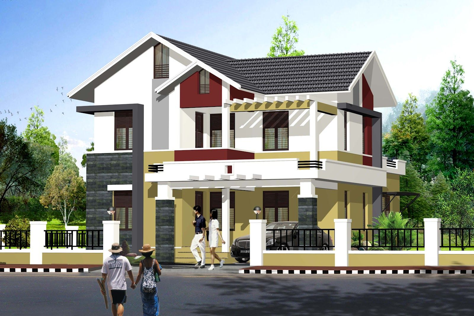 1995 sq ft simple budget indian home exterior design for Exterior house designs indian style