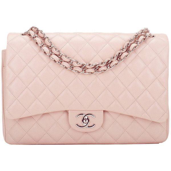 b93cd9dd812a Pre-owned Chanel Light Pink Quilted Caviar Maxi Classic Double Flap Bag  ($7,000) found on Polyvore featuring bags, handbags, purses, accessories,  chanel, ...