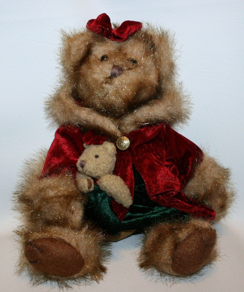 Tender Hearted Collectibles Christmas Teddy Bear Velvet