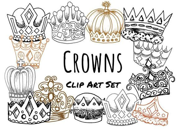 Hand Drawn Doodle Crowns Clip Art Kings And Queens Clip Art Etsy Crown Clip Art Clip Art How To Draw Hands