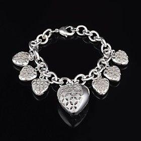 Women's Fashion Delicate Silver Hollow Hearrt  Bracelet