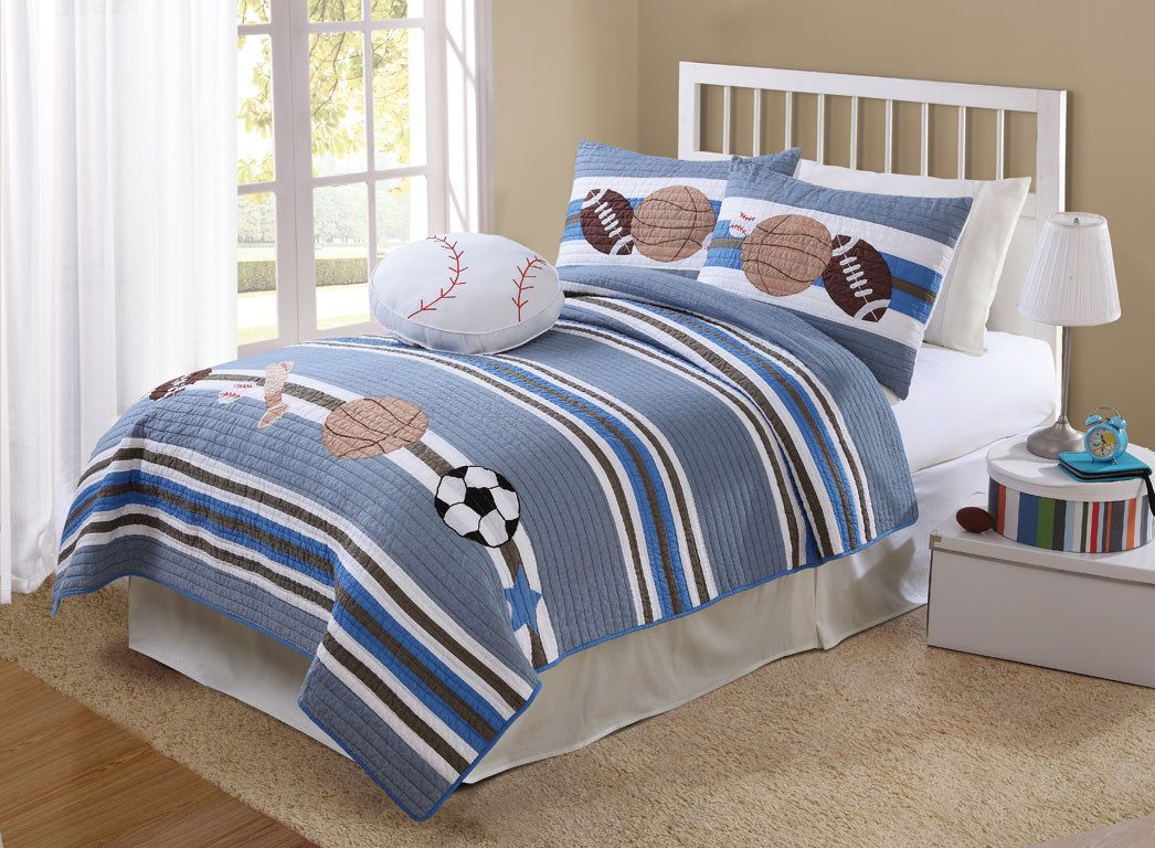 Boy Bedspreads And Comforters White Striped Sports Bedding All - Boys room paint ideas stripes sports