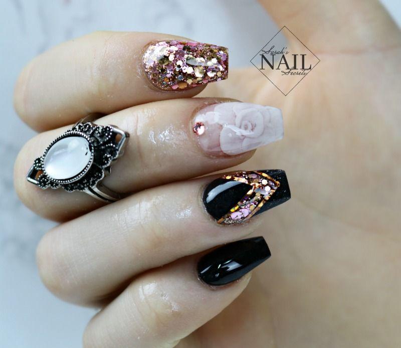 Encapsulated Rose Nails Nails Luxury Nails Nail Designs Elegant Nails