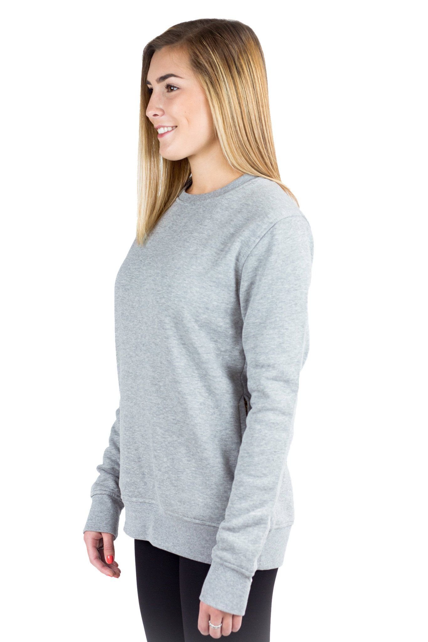 3ce8c6d56954 Women Grey Plain Fleece Crewneck Sweatshirt Long sleeve with zip side  pockets from Just Like Hero. For men and women. Best friends, couples,  family outfit.