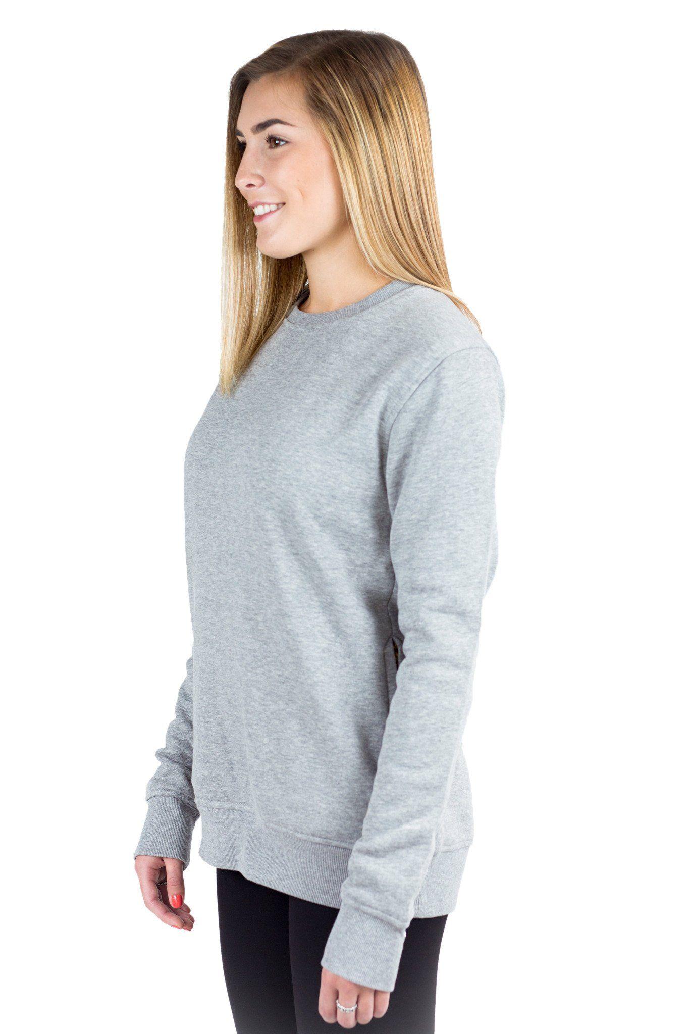 60c49dd51a0 Women Grey Plain Fleece Crewneck Sweatshirt Long sleeve with zip side  pockets from Just Like Hero