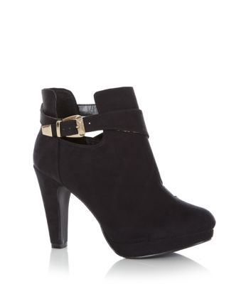 Wide Fit Black Buckle Cut Out Ankle Boots