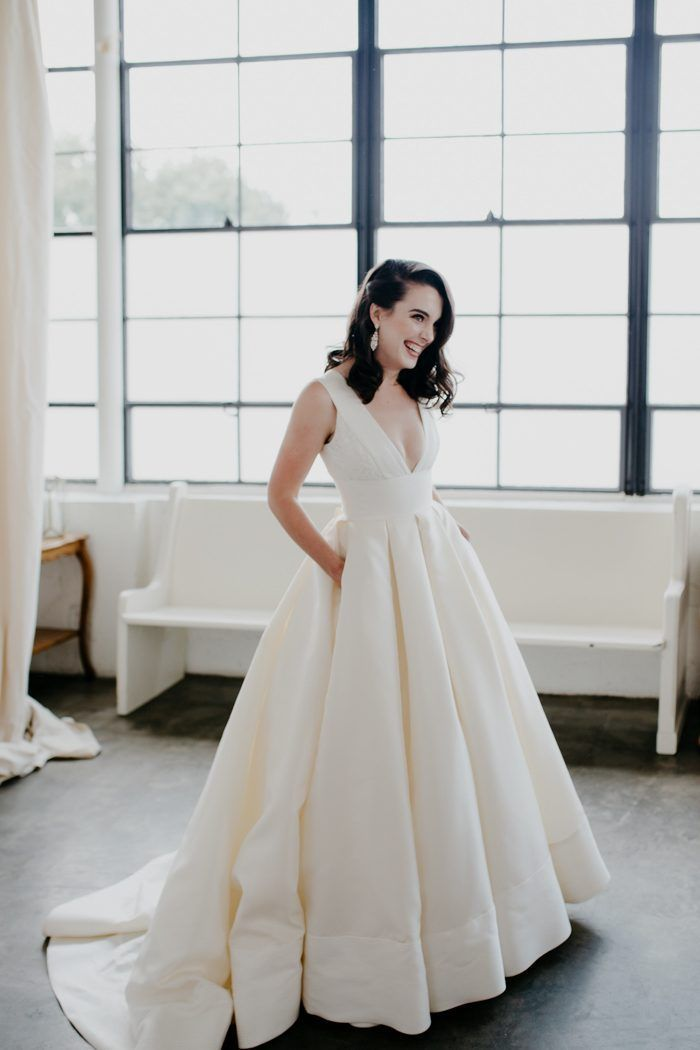 we love practical and fashionable, which is exactly what this bride's grand wedding dress…
