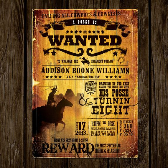 wanted poster birthday invitation by lanodesignstudio on