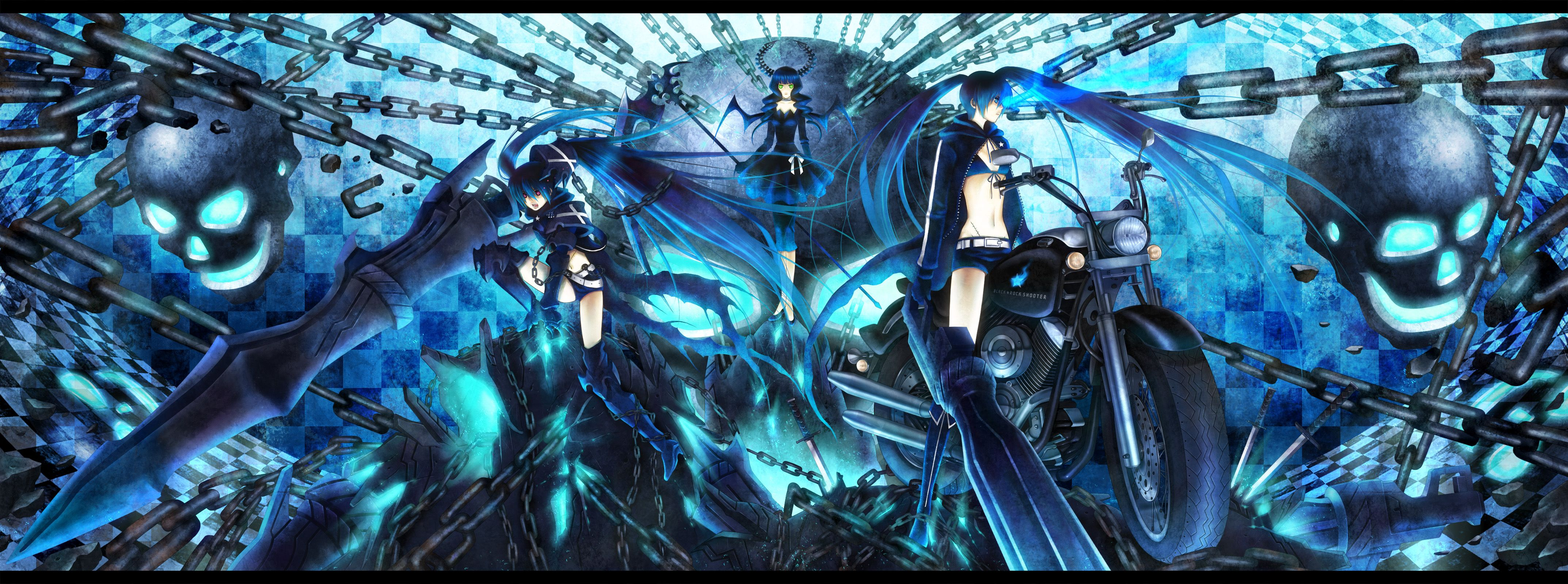 Black Rock Shooter Dual Screen Wallpaper 록 캐릭터 일러스트 그림