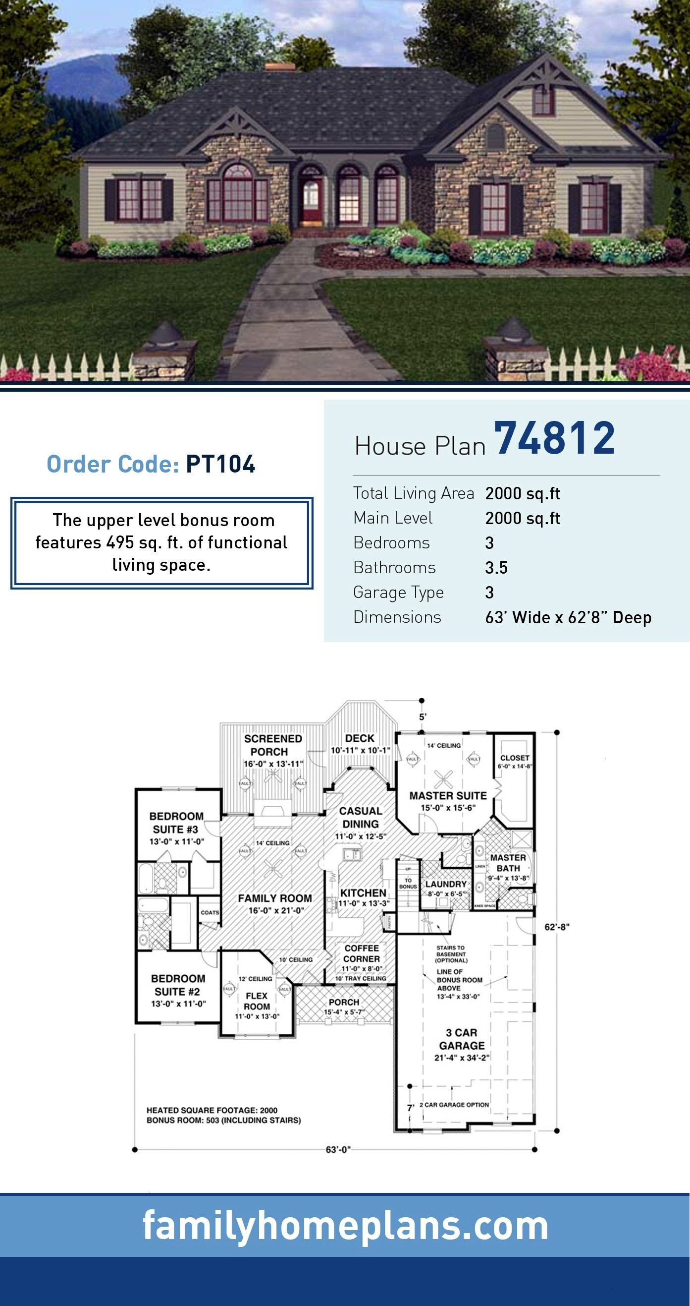 House Plan 74812  Total Living Area 2000 SQ FT 3 bedrooms and 35 bathrooms The upper level bonus room features 495 SQ FT of functional living spaceCraftsman House Plan 74...
