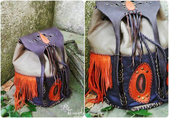 Bohemian hippie leather backpack  handmade by TximeletaCreations, €125.00