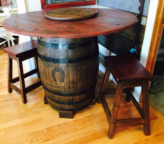 Cool Whiskey Barrel And Barn Wood High Top By Logslightsbarnwood Bourbon Table