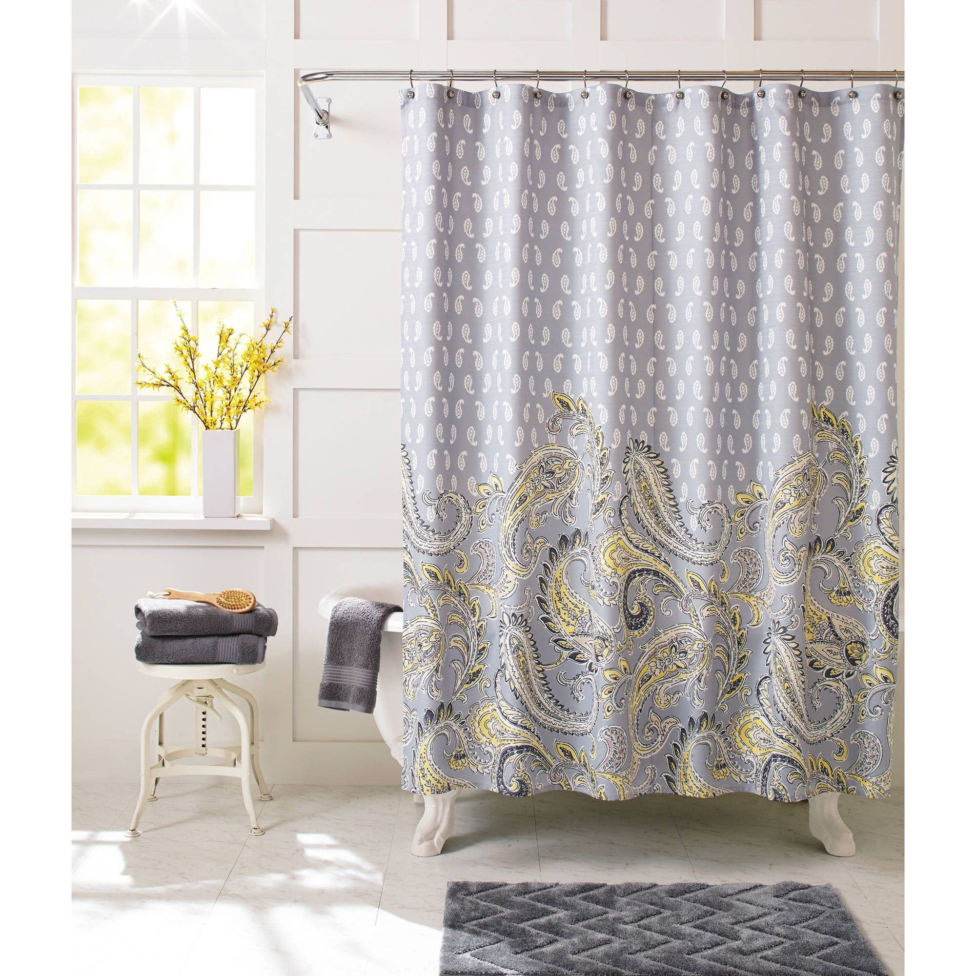 Better Homes And Gardens Shower Curtains Walmart Intended For Dimensions 2000 X Yellow Gray Medallion Paisley Print Curtain