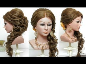 Wedding prom hairstyle for long hair tutorial. Bridal updo