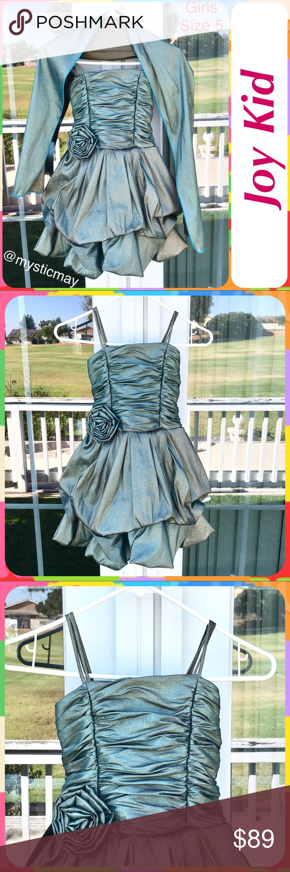 JOY KID Teal Shimmer Bubble Hem Party Dress Size 6 | Teal party ...