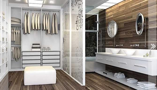 Há quem goste de integrar o closet ao banheiro.