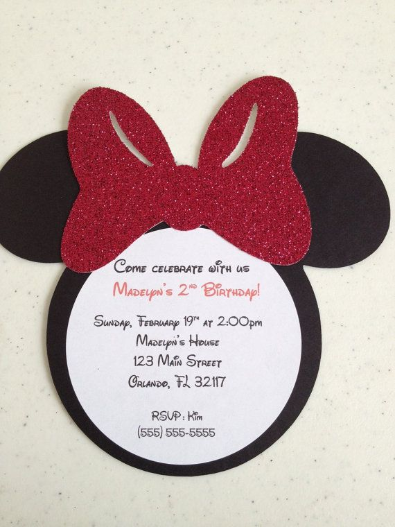 Sooo cute Handmade Minnie Mouse Invitations Manualidades