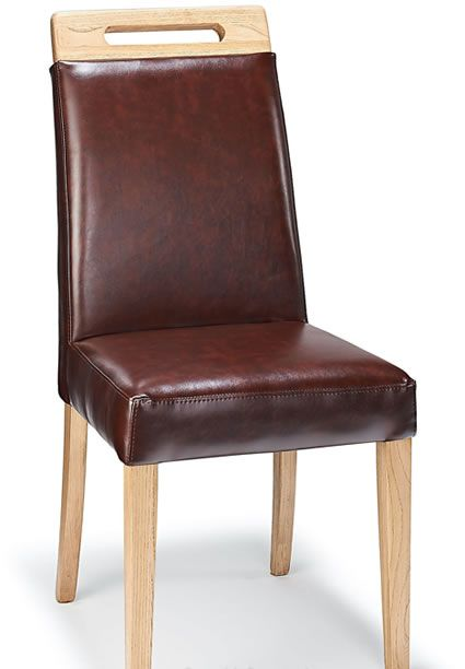 Bria Real Leather Dining Chair In Antique Brown Or Cream Oak Legs