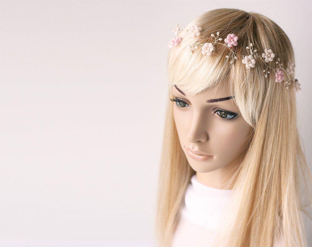 52_Gold headband, Wedding hair accessories, Circlet of flowers ...