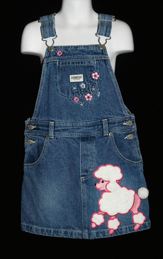 c650b698b Osh Kosh Girls Size 6 Big Pink Poodle Applique Jumper Denim Dog ...