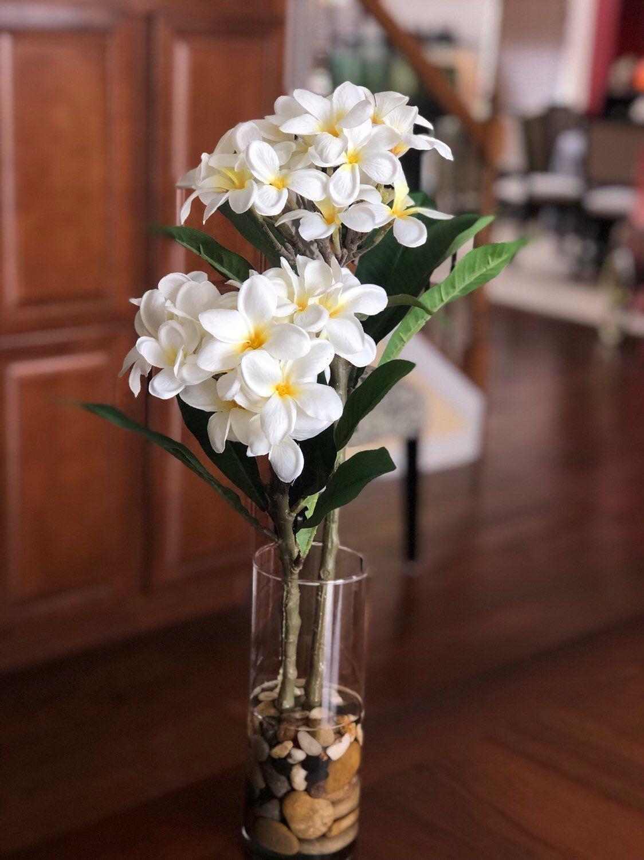 Hawaiian Frangipani Faux Flower Arrangement In Cylinder Glass Vase With Resin Wa Arrangement Cyli In 2020 Faux Flower Arrangements Faux Flowers Flower Arrangements
